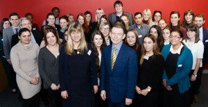 Teesside University law students with (l-r) Emma Teare (senior lecturer at Teesside University) and Paul Bury (managing partner at Endeavour Partnership)