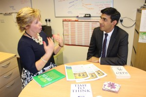 Amanda McGough introduces her business to Rishi Sunak MP